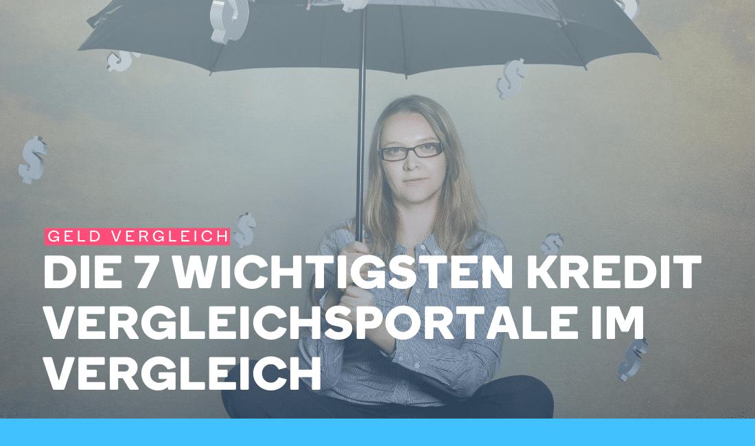 Frau mit Regenschirm sitzt unter einem Geldregen