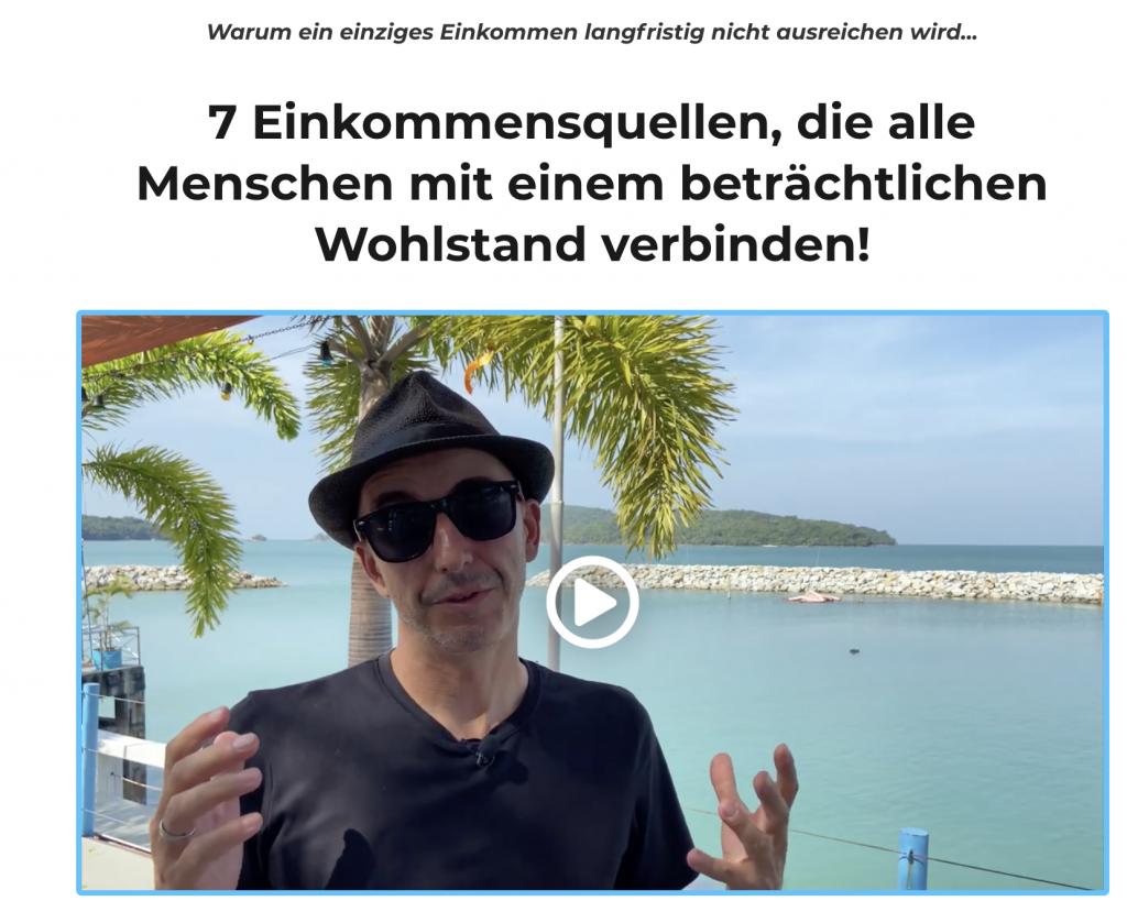"""Strartseite Video """"7 neue Einkommensquellen"""""""