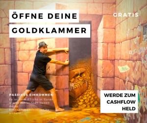 Marco öffnet eine Mauer aus der Gold in Münzen strömen