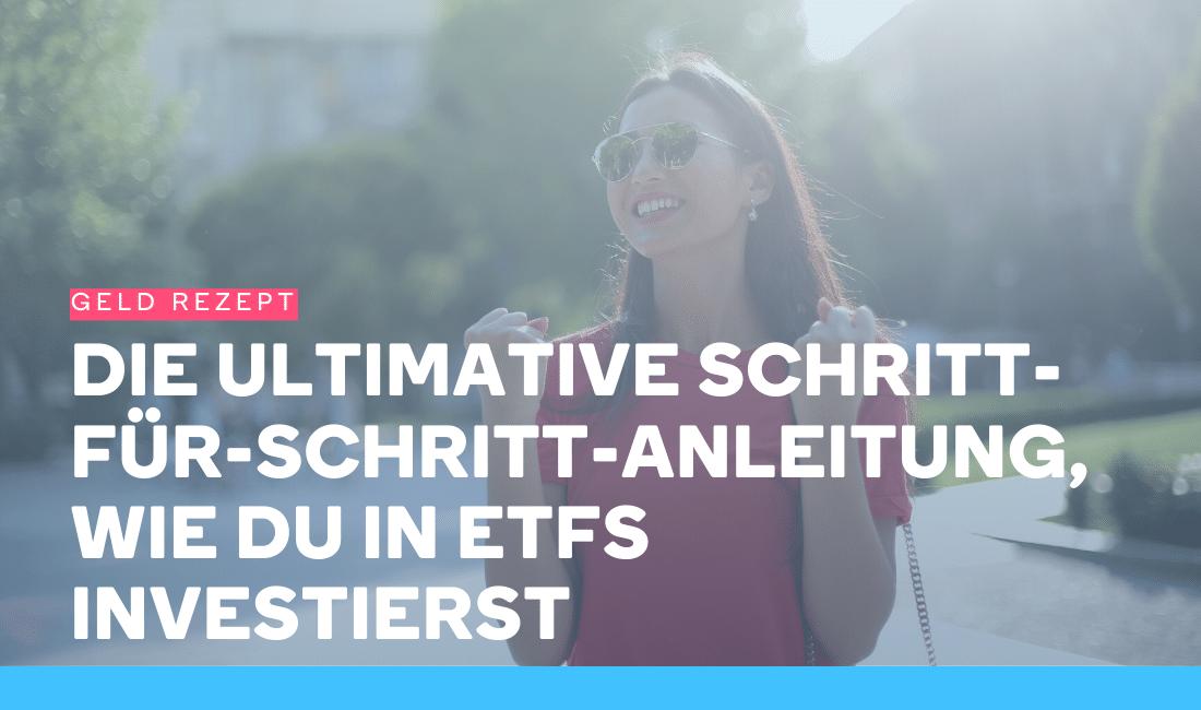 Frau ist glücklich, weil sie in ETFs investiert
