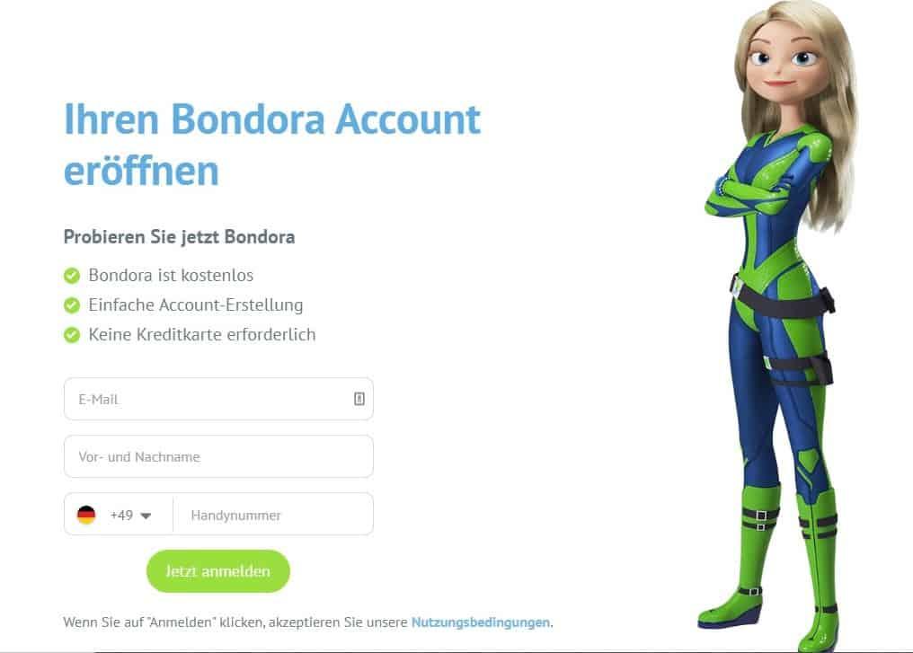 Anmeldung bei Bondora Go & Grow