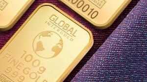 Goldbarren in einer Schattule