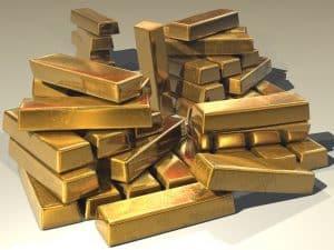 Aufgestapelte Goldbarren