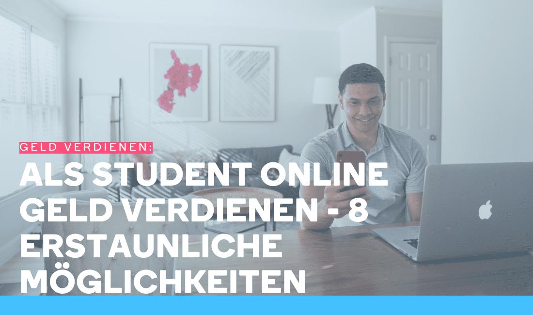 Mann surft im Web, um als Student online Geld zu verdienen
