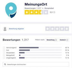 Bewertung der Seite MeinungsOrt auf Trustpilot