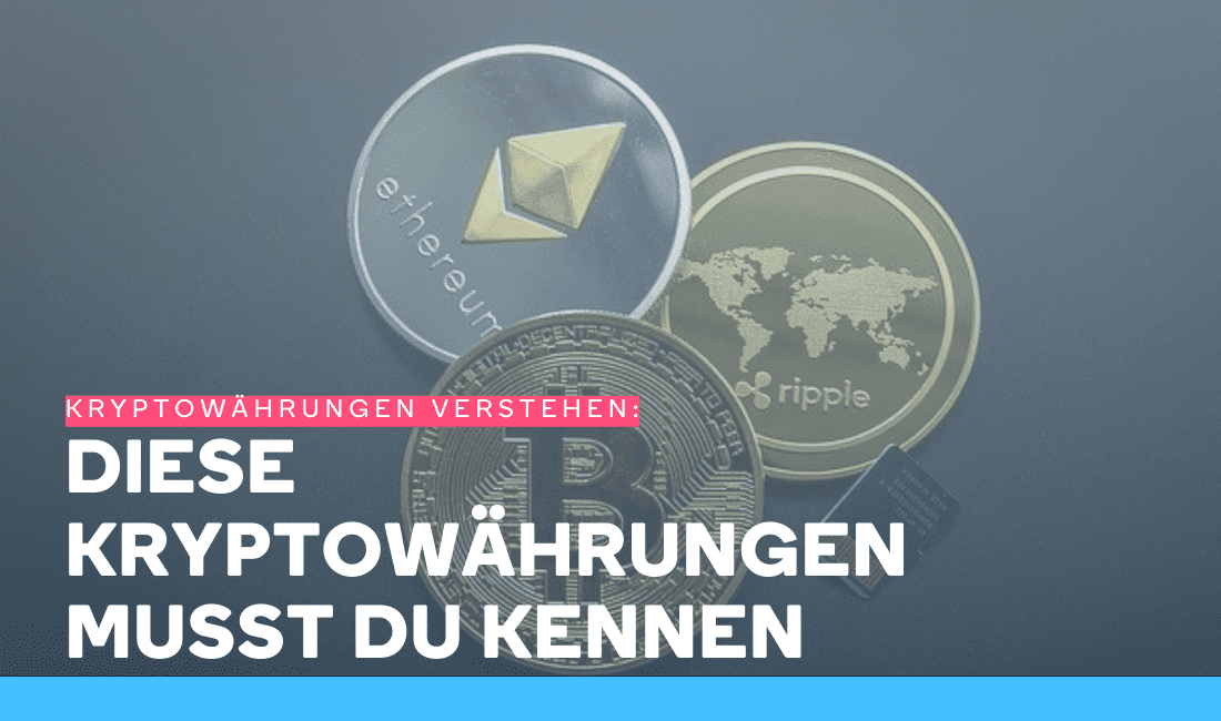 Einige der bekanntesten Kryptowährungen: Bitcoin, Ether, Ripple