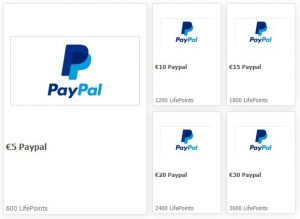 PayPal Auszahlung auf LifePoints
